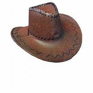 Hat Cowboy Brown Faux Leather Ea b8ef7f92c753