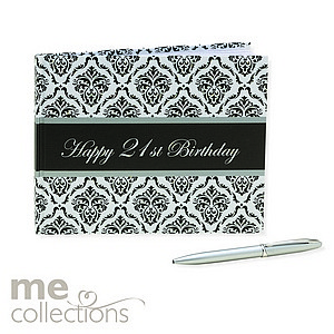 Guest Book 21st Birthday Damask With Pen Ea LIMITED STOCK