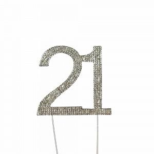 Cake Topper 21 Silver Diamante 10cm Ea