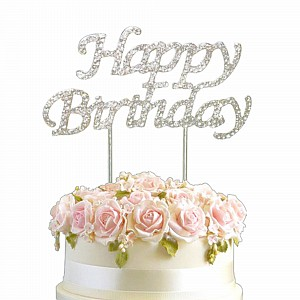 Cake Topper Happy Birthday Silver Diamante 10cm Ea