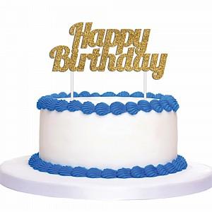 Cake Topper 5x135cm Happy Birthday Gold Ea