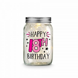 Mason Jar LED 14x8cm 18th Birthday Ea