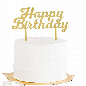 Cake Topper Happy Birthday Gold Ea