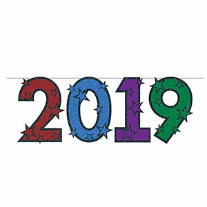 new year 2019 banner glitter mulitcoloured ea